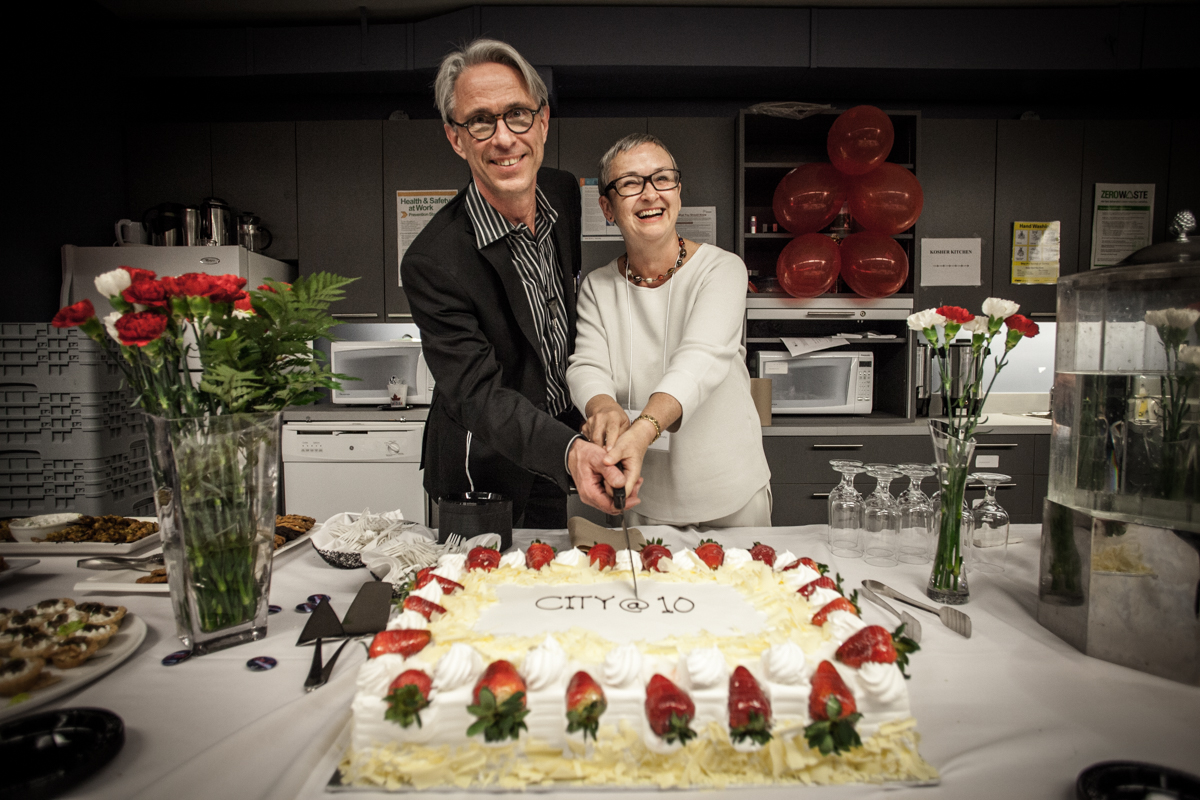 Former CITY director Professor Roger Keil and current director, Professor Linda Peake, on CITY's 10 year anniversary